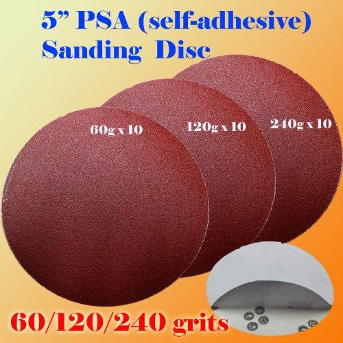 Pack of 30x 5 PSA Self Adhesive 60120240 Grit Sanding Disc Stick on Sandpaper Peel Air Sander Orbit