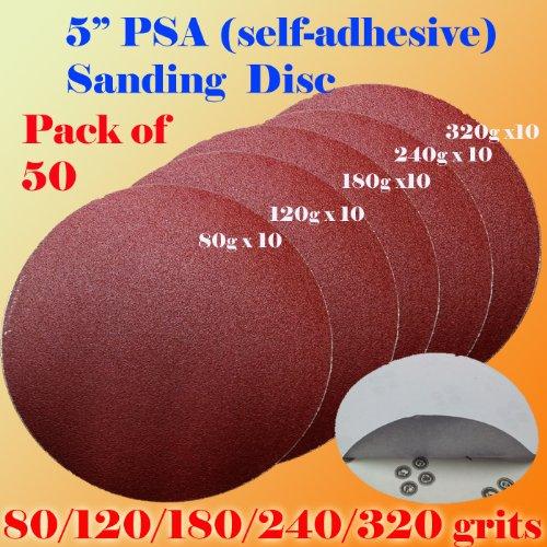 Pack of 50 5 PSA Self Adhesive 80120180240320 Grit Sanding Disc Stick on Sandpaper Peel Air Sander Orbit
