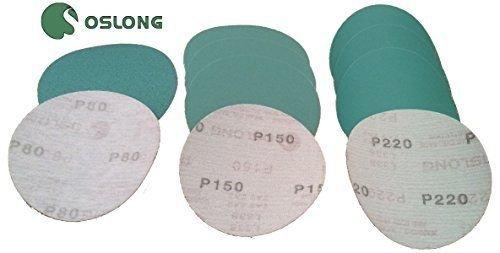 Oslong Abrasives 600-Grit L338 6 Hook Loop Green Film Velcro Sanding Discs Box of 100