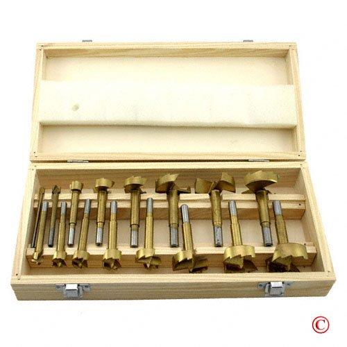 16 piece Titanium Forstner Drill Bit Set