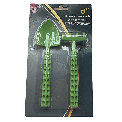Mini 2Pcs Rake Spade Set Hardplastic Indoor Gardening Tool Garden Plant Bonsai Care 6 Inch
