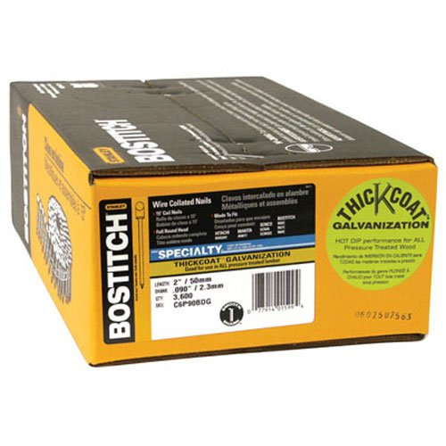 Bostitch C6P90BDG Thickcoat Round Head 2-Inch by 090-Inch 15 Degree Coil Framing Nail 3600 per Box