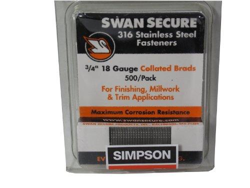 Simpson Swan Secure T18N075FNB 18-Gauge 316 Stainless Steel 34-Inch Brad Nails 500 Per Box