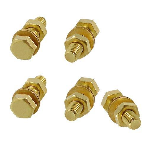 Water Wood 5 Pcs Hex Head Nut 6mm x 20mm Thread Solid Brass Screw Bolts w Washers