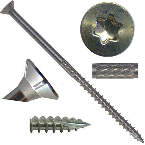 10 x 4 Silver Star Stainless Steel FLAT HEAD Wood Screw TorxStar Drive Head 1 Pound - 305 Stainless Steel TorxStar Drive Wood Screws ~56 Screws