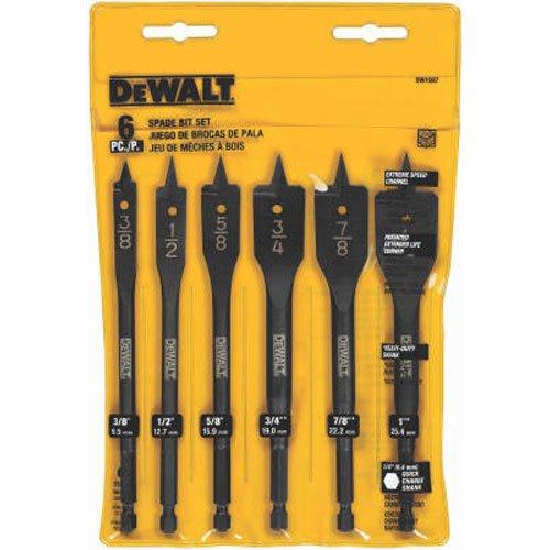 DEWALT DW1587 6 Bit 38-Inch to 1-Inch Spade Drill Bit Assortment