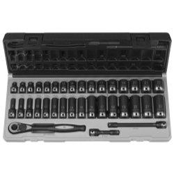 38 Dr 35pc Metric Std Deep Duo-Socket Set - 6 Pt Tools Equipment Hand Tools