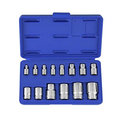 Female Torx Socket Set  14pc E Star External Bit Kit 14 38 12 Drive Crv MEE TONG SHOP