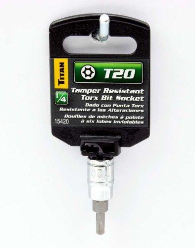 Titan T20 Tamper Resistant Torx Bit Socket-14 Drive
