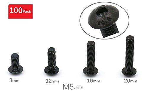 iExcell Total 100-Pack M5 x 8mm M5 x 12mm M5 x 16mm M5 x 20mm Alloy Steel Hex Socket Button Head Cap Screws Black
