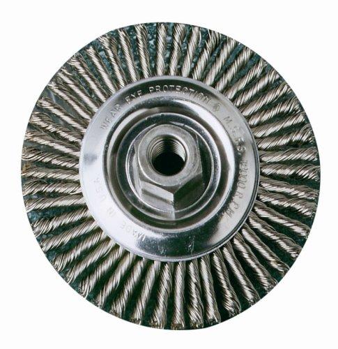 SAIT 06454 4 x 014 x 12-13 Arbor Carbon Bristle Crimped Style Angle Grinder Wire Wheel