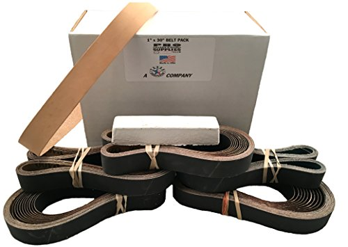 1x30 Sharpening Belt Pack - 120 400 600 800 1000 Leather Belt w Compound