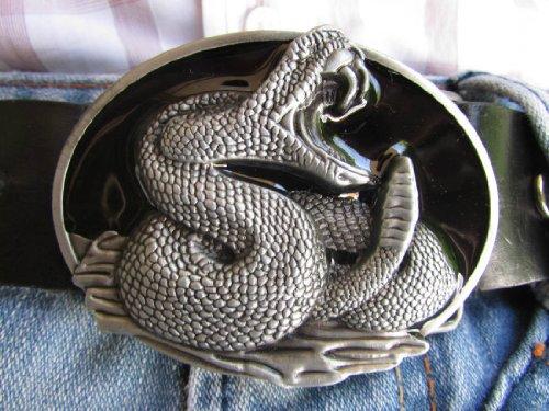New Men Big Silver Metal Cowboy Western Fashion Belt Buckle Black Rattle Snake