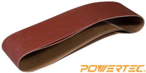 POWERTEC 110533 6-Inch x 48-Inch 80 Grit Aluminum Oxide Sanding Belt 3-Pack