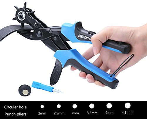 WoneNice Revolving Leather Belt Hole Punches -2 Years Warranty -Professional Heavy Duty belt hole puncher tool - Easily Punches Perfect Round Holes in 20 mm- 45 mm