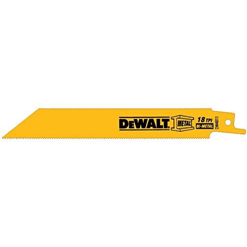 DEWALT DW4811 6-Inch 18 TPI Straight Back Bi-Metal Reciprocating Saw Blade 5-Pack
