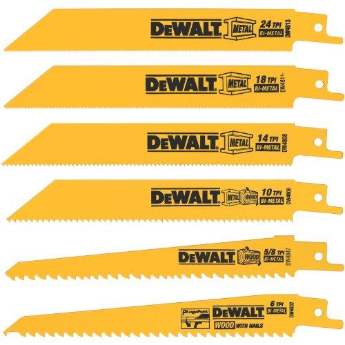 DEWALT DW4856 MetalWoodcutting Reciprocating Saw Blade Set 6-Piece