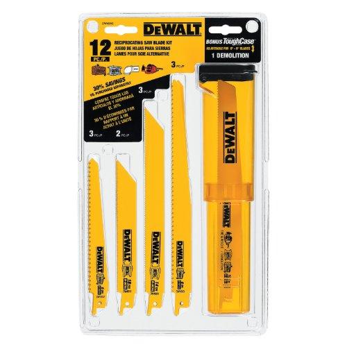 DEWALT DW4892 Bi-Metal Reciprocating Saw Blade Set with Case 12-Piece