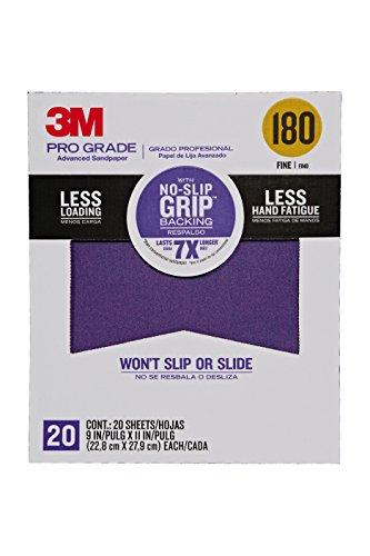 3M Pro Grade No-Slip Grip Advanced Sandpaper 9 x 11 180 Grit 100 per Case
