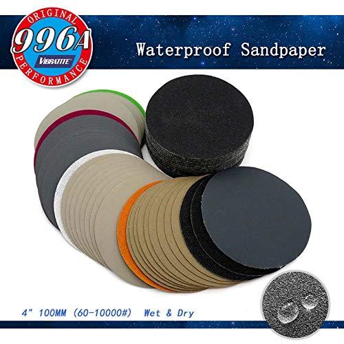 4 Inch 60-10000 Grit Hook Loop Sandpaper Sanding Discs Silicon Carbide Grain WetDry 50-pack Assortment