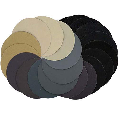 5 Inch 60-10000 Grit Hook Loop Sandpaper Sanding Discs Silicon Carbide Grain WetDry 50-pack Assortment