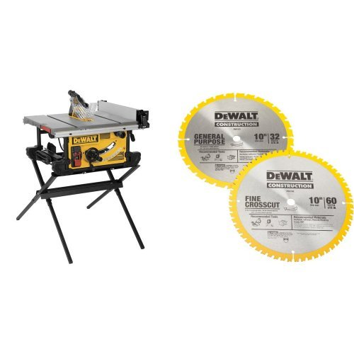 DEWALT DWE7490X 10-Inch Job Site Table Saw with Scissor Stand with  60-Tooth Crosscutting and 32-Tooth General Purpose 10-Inch Saw Blade Combo Pack