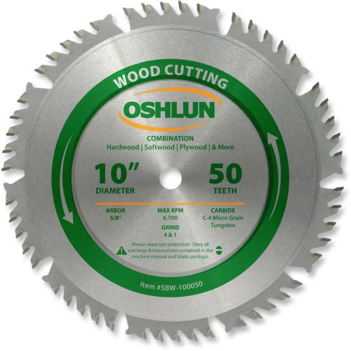Oshlun SBW-100050 10-Inch 50 Tooth 4 and 1 Combination Saw Blade with 58-Inch Arbor