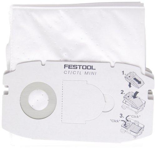 Festool 498410 Self Clean Filter Bag for CT MINI  5 pack