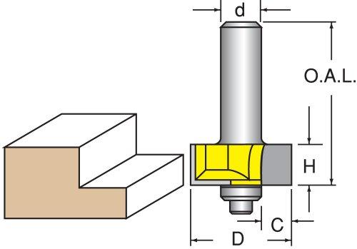 Woodtek 819612 Router Bits Rabbeting 14 Carbide Tipped Rabbeting Bit 14 Shank