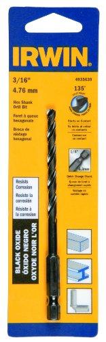 Irwin Tools 4935639 Black Oxide Hex Shank Drill Bit 316-Inch