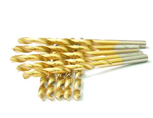 DRILLFORCE HSS Jobber Length 10 PCS964 x 2-78Titanium Coated Twist Drill Bits Metal drill ideal for drilling on mild steel copper Aluminum Zinc alloy etc Pack In Plastic Bag 964