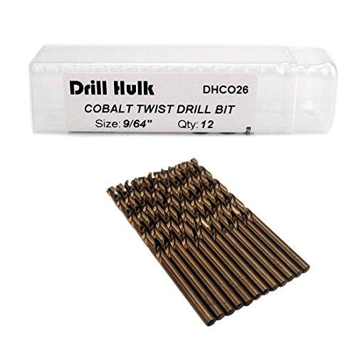 Pack of 12 964-Inch Cobalt Steel M35 Jobber Length Twist Drill Bits for Hard Metal Stainless Steel