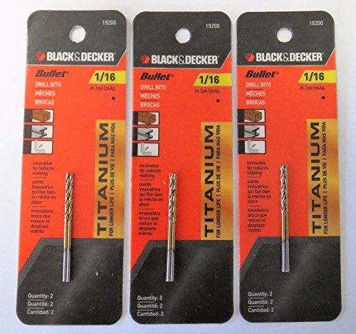 Power Tools Black Decker 19200 Titanium Metal Plastic Wood 116 Bullet Drill Bit 3PCS