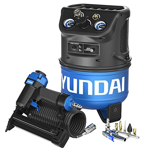 Hyundai HHC2GNK 2 Gal Vertical Style Electric Air Compressor with 2-in-1 Brad NailerStapler