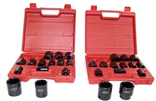 Socket Sets30pc 12 Drive Shallow Air Impact Sockets set 15 SAE AND 15 METRIC