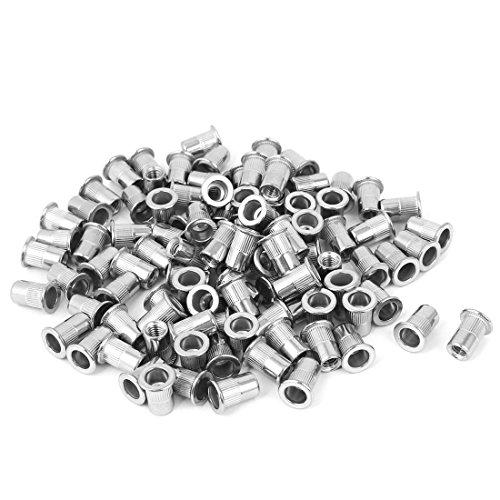 uxcell M6 Stainless Steel Flat Head Rivet Nut Rivnut Insert Nutsert 100pcs