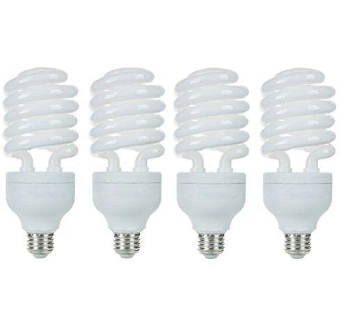 Pack of 4 CFL 42 Watt High Wattage T4 Spiral Medium Base Warm White