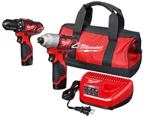 Milwaukee 2494-22 M12 Cordless Combination 38 Drill  Driver and 14 Hex Impact Driver Dual Power Tool Kit 2 Lithium Ion Batteries Charger and Bag Included