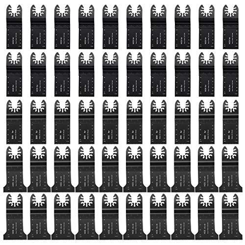 Powerextra 50 PACK Bi-Metal WoodMetal Oscillating Saw Blades Universal Quick Release Multitool Tool Blade Japan Tooth for Bosch Craftsman DeWalt Dremel FEIN Ridgid TCH Makita Milwaukee