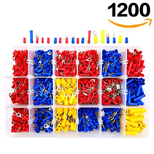 1200pcs Wire Connectors Sopoby Mixed Assorted Lug Kit Insulated Electrical Crimp Connector Crimp Ring Terminal Spade Connectors Set
