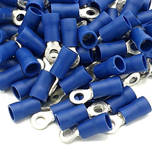 100pcs Blue Insulated Crimp Ring Terminals 32mm Stud Size Connectors