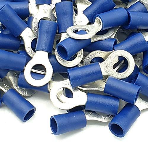 100pcs Blue Insulated Crimp Ring Terminals 53mm Stud Size Connectors