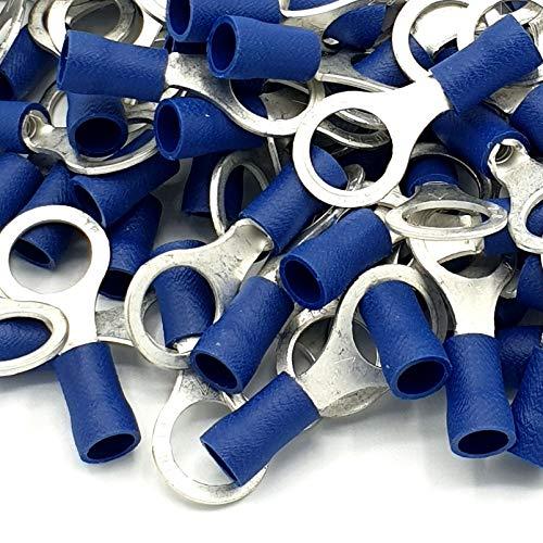 100pcs Blue Insulated Crimp Ring Terminals 84mm Stud Size Connectors
