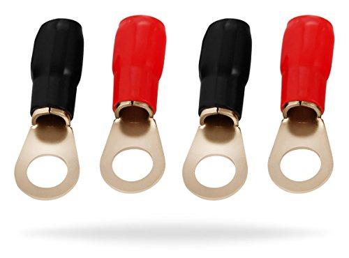 InstallGear 4 Gauge AWG Crimp Ring Terminals Connectors - 4-Pack 2 Positive 2 Negative