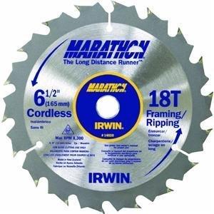IRWIN Tools MARATHON Carbide Cordless Circular Saw Blade 6 12-inch 18T 24020