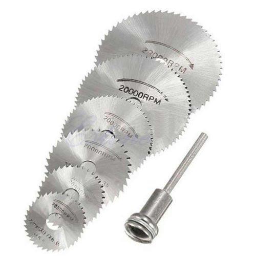 PeachFYE 6PcsSet Rotary cutter Mini HSS Circular Tool Saw Disc Blades Blade cutter Mandrel Cutting Kit