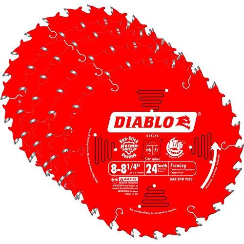 Freud D0824X Diablo 8-14-inch 24 Tooth ATB Thin Kerf Framing Saw Blades 5-Pack
