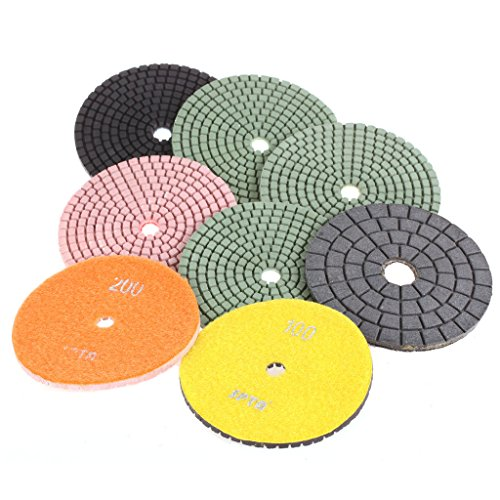 SPTA Mix Grit Premium Grade Wet 4100mm Diamond Polishing Pads Set For Wet Polisher Granite Marble Stone Polish Pack Of 8Pcs