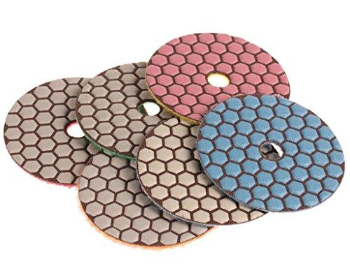 SPTA Mix Grit Premium Grade Dry 380mm Diamond Polishing Pads Set For Wet Polisher Granite Marble Stone Polish Pack Of 6Pcs