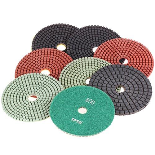 SPTA Mix Grit Premium Grade Wet 5125mm Diamond Polishing Pads Set For Wet Polisher Granite Marble Stone Polish Pack Of 8Pcs